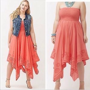 Lane Bryant coral shark bite hem dress 18/20